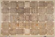 Cloth wrapper (adinkra) belonging to King Prempeh I. Asante peoples, Ghana, ca. 1896. Imported cotton cloth, black pigment. 210.8 x 302.3 cm. Museum purchase. National Museum of African Art, 83-3-8.  Photograph by Franko Khoury