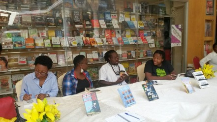 guest-writers-noviolet-bulawayo-jennifer-makunbi-nii-parkes-and-zukiswa-wanner-at-a-book-sigining-during-the-writivism-festival-in-kampala